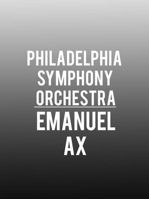 Philadelphia Symphony Orchestra - Emanuel Ax Poster